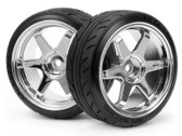 HPI 4704 - Mounted Super Drift Tyre (A TYPE) on TE37 Wheel Chrome