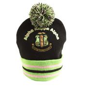 Knit beanie with pompom. Crest logo.
