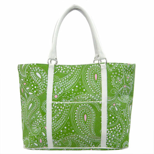 Borghese Green Paisley Tote Bag