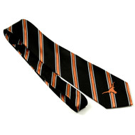 Black Tie with Burnt Orange Band Highlighted in White Single Burnt Orange Longhorn Logo at Tip Woven Polyester