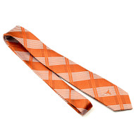 "Texas Skinny Plaid Tie 2 1/2""  Side Longhorn Centered at Tip Woven Polyester"