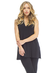 Sympli Sleeveless Deep V-Tunic (Black)