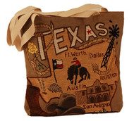 """The Texas Tote features two natural canvas 28"""" shoulder straps, woven jaquard fabric, icons of Texas, bluebonnets, the yellow rose, the Alamo and a cowboy hat with boots. A great tote! Made in the USA. 15"""" X 15"""""""
