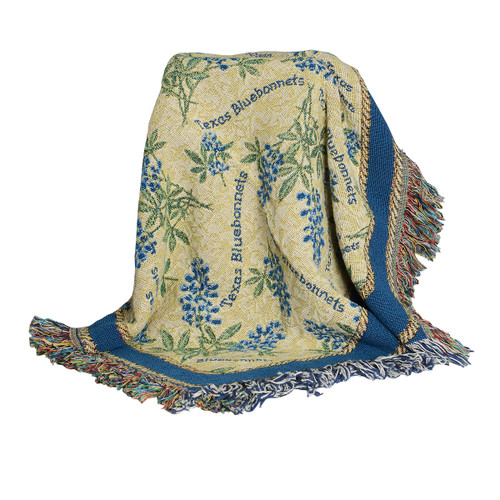 The Bluebonnet Tapestry throw features 100% soft cotton.