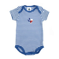 This Bottom Snap Onesie Features All-Over Blue and White Stripes with an Embroidered Texas Flag Front and Center