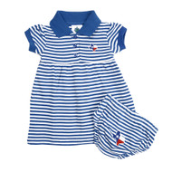 Polo Style Dress and Bloomer Set with All-Over Blue & White Stripes and an Embroidered State of Texas Shaped Flag at Left Chest and on Bloomers