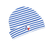 Knit Newborn Cap with All-Over Blue & White Stripes and a State of Texas Shaped Flag Front and Center
