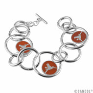Silver Loops Interlinked Bracelet with Burnt Orange & Silver Longhorn Logos