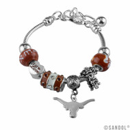 Bevo, the Longhorn Logo and Texas Beads are All a Part of This Silver UT Charm Bracelet
