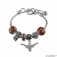Bevo and the Longhorn Logo are Part of This Silver UT Charm Bracelet