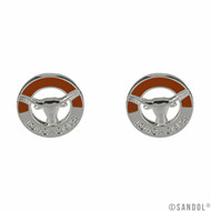 Silver Circular Studs with Longhorn Logo and a Touch of Burnt Orange