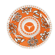 "Orange, White & Black 14"" Melamine Chip & Dip Server with Floral & Longhorn Logo Design"