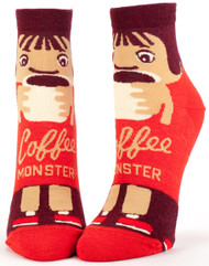 Blue Q Coffee Monster Ankle Socks (Ladies 5-10) in Brown, Red & Beige