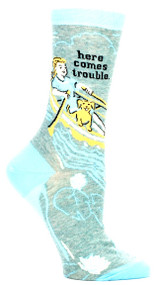 Blue Q Here Comes Trouble Crew Socks (Ladies 5-10) in Grey, Sky Blue & Yellow