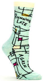 Blue Q Running Late. Again. Crew Socks (Ladies 5-10) in Mint with Black Abstract Print