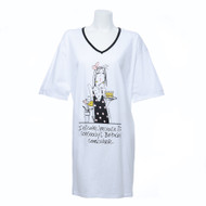 "Over Size, White, Short Sleeve, V-Neck Nightshirt in a Bag with ""Best Friends"" and Cartoon Girl Print"
