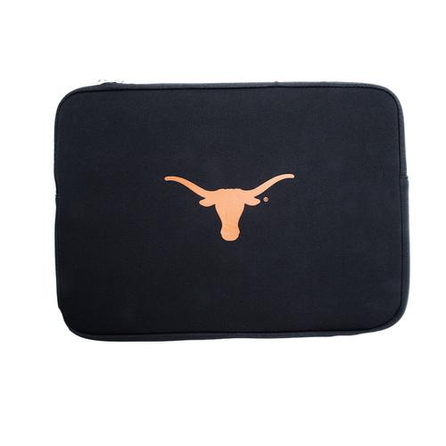 "15.6"" Black Soft Sided Laptop Sleeve with Burnt Orange Longhorn Logo"