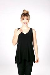 Black, Sleeveless, Relaxed, Curved Hem,  V-Neck Tank in 94% Poly, 4% Spandex