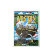 """2 1/2"""" X 3 1/2"""" Magnet with a Collage of Austin Icons and Austin Skyline"""