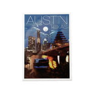 """2 1/2"""" X 3 1/2 """" Magnet with Beautiful Night Shot of the Austin Skyline, Town Lake and the Bats"""