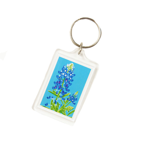 """1 3/4"""" X 2 1/4"""" Key ring with Classic Bluebonnet Stalk on Sky Blue Background in Sturdy Acrylic"""