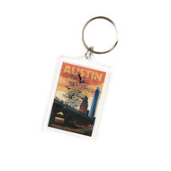 """1 3/4"""" X 2 1/4""""  Acrylic Key Ring with Congress Avenue Bridge at Sunset with the Bats Flying"""