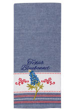 Texas Bluebonnet Embroidered Tea Towel