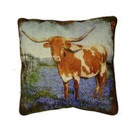 Texas Longhorn Bluebonnet Pillow