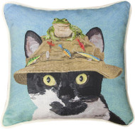 Cat in Hat with Frog Pillow