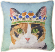 Cat in Hat with Crown Pillow