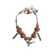 Texas Longhorn Rhinestone Charm Bracelet