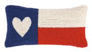 Texas Flag Heart Crewel Pillow