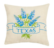 Texas Bluebonnet Embroidered Pillow  24JES335C12SQ