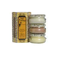Happy Birthday Gift Set Includes  3-3.4 oz Candles in Birthday Cake, Vanilla Ice Cream and Warm Sugar Cookie  All in a Decorative Gift Box