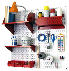 Craft & Hobby Pegboard Organizer Kit - White Pegboard with Accessories