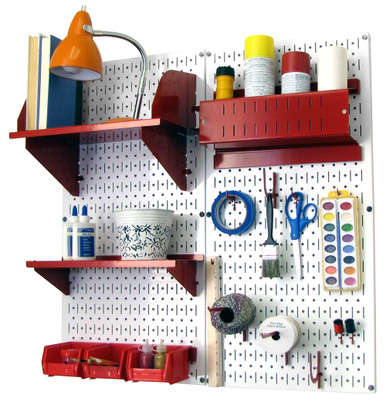Craft hobby pegboard organizer kit white pegboard with for Craft wall storage system