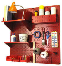 Craft & Hobby Pegboard Organizer Kit - Red Pegboard with Accessories