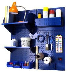 Craft & Hobby Pegboard Organizer Kit - Blue Pegboard with Accessories