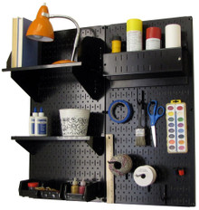 Craft & Hobby Pegboard Organizer Kit - Black Pegboard with Accessories