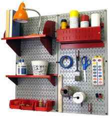 Craft & Hobby Pegboard Organizer Kit - Gray Pegboard with Accessories