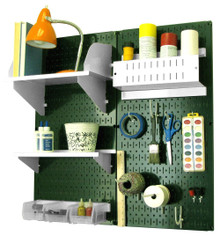 Craft & Hobby Pegboard Organizer Kit - Green Pegboard with Accessories