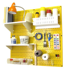 Craft & Hobby Pegboard Organizer Kit - Yellow Pegboard with Accessories