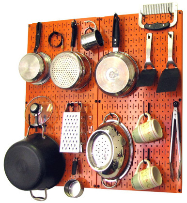 Kitchen pegboard organizer kit pots pans rack orange for Kitchen s hooks for pots and pans