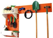Pegboard Garden Tool Board Organizer Kit - Orange Pegboard with Accessories