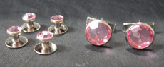 Light Pink and Silver Stud and Cufflink Set $6