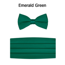 New Emerald Green Bow Tie and Cummerbund Set