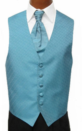 Turquoise Blue Spectrum Vest with Sharpei Long Tie