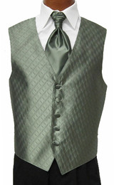 Sage Green Spectrum Vest with Sharpei Long Tie