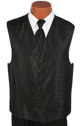 Black Perry Ellis Vest and Solid Long Tie