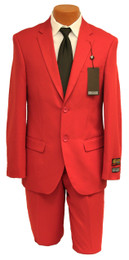 Red Bolzano Suit; 2-Piece Jacket and Pants
